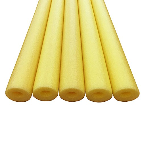 Commart Foam Pool Swim Noodles - 5 PACK 52 Inch Wholesale Pricing Bulk (Yellow) Ships from USA