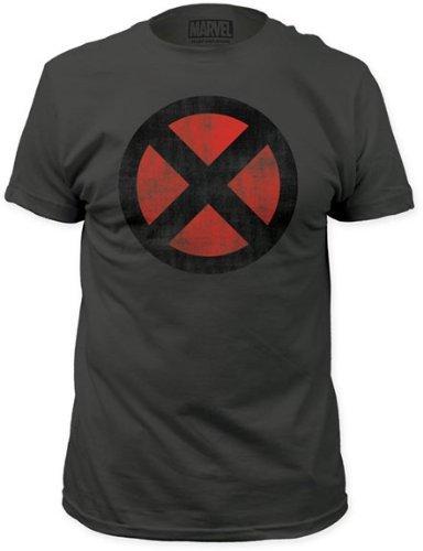 Marvel X-Men Distressed Symbol Grey 30 Single T-Shirt- Small