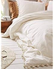 White Pom Pom Fringed Cotton Duvet Cover Twin/Queen/King
