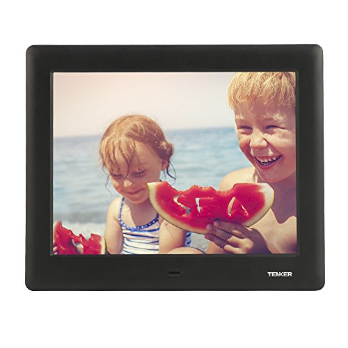 TENKER 8-inch HD Digital Photo Frame IPS LCD Screen with Auto-Rotate/Calendar/Clock Function, MP3/Photo/Video Player with Remote Control (Black) by TENKER