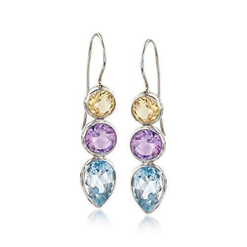 - Ross-Simons 15.30 ct. t.w. Multi-Stone Drop Earrings in Sterling Silver