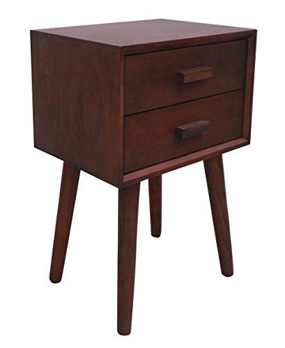 Light Walnut Wood Caleb Accent Table: Urbanest Hartford Two Drawer Side Table, Light Walnut