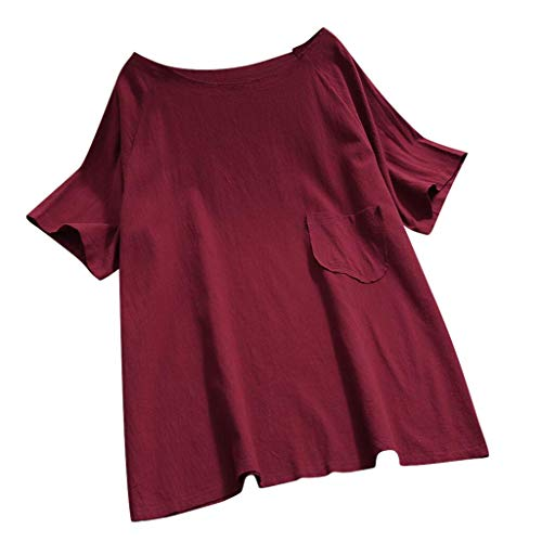 (QIQIU Loose Soild Pocket Tunic Womens Summer Casual Short Sleeve O-Neck Plus Size T-Shirt New Blouse Tops Wine)