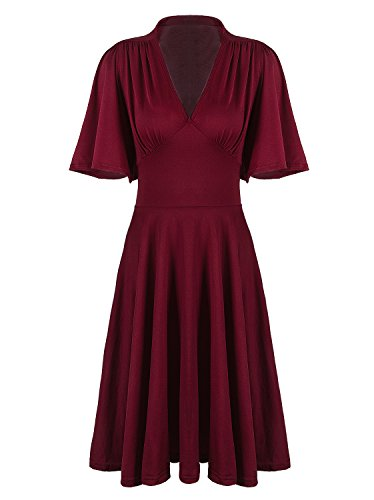 VIJIV Womens Vintage 1920s V Neck 1940s Rockabilly Swing Evening Party Cocktail Dress with Sleeves Roaring 20s ()