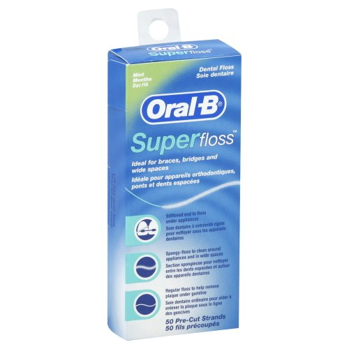 Oral-B Mint Pre-Cut Strands Super Floss, 50 Count