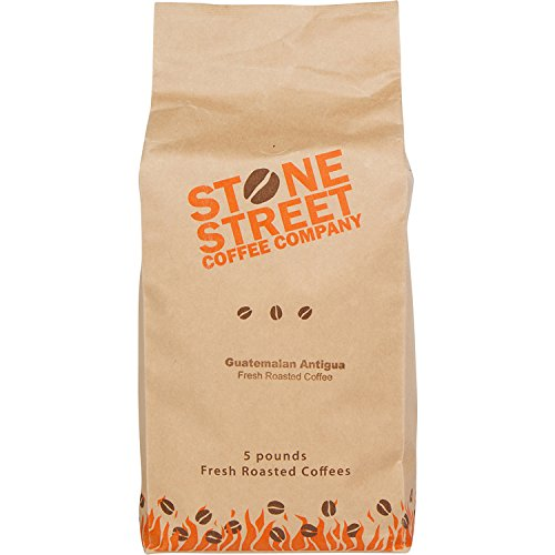 DARK GUATEMALA ANTIGUA Whole Bean Gourmet Coffee | 5 LB Bulk Bag | Volcanic/High Altitude Soil - Single Origin Grown | Smooth, Medium-Body, Smoky Aroma