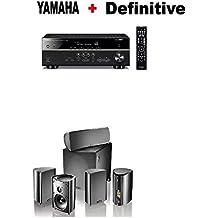 Yamaha RX-V585BL 7.2-Channel 4K Ultra HD AV Receiver + Definitive Technology Pro Cinema 800 System Black Bundle