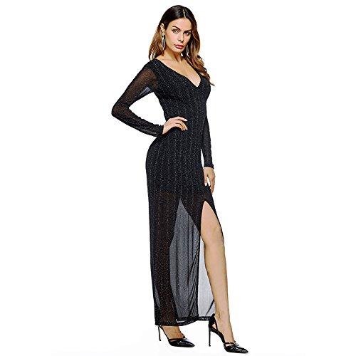 nuove spaccato a da delle lunghe autunno originali sexy Vestito a abito Black tinta donne maniche unita F1HgPUq