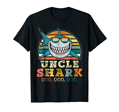 Retro Vintage Uncle Shark TShirt Funny Birthday Gifts Family -
