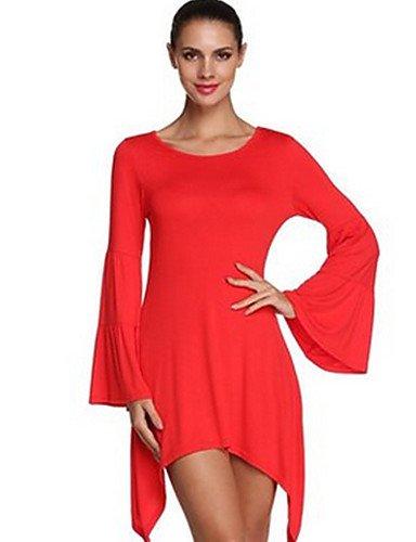 PU&PU Robe Aux femmes Trapèze Street Chic,Couleur Pleine Col Arrondi Asymétrique Polyester , red-s , red-s
