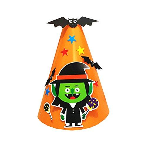 AMOSFUN DIY Creative Halloween Cartoon Paper Cap Ornament Hat for Children Kids (Green Men)