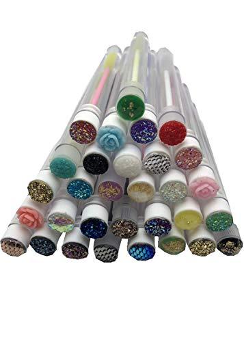 20 Pcs Disposable Mascara Brushes Diamond Eyelash Spoolies Makeup Brush Mascara Wand in Sanitary Tube Lash Supplies. ()
