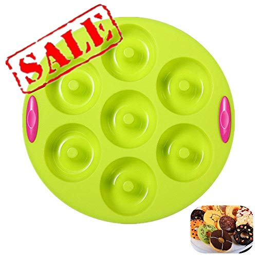 Double Color Donut Baking Pan, 7 Well Doughnuts, Nonstick & Quick Release Coating, Extra Thick & Solid Silicone with Textured Grips by KeepingcooX ()
