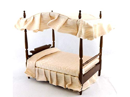 Melody Jane Dolls House Walnut Double 4 Poster Canopy Bed Miniature 1:12 Bedroom Furniture