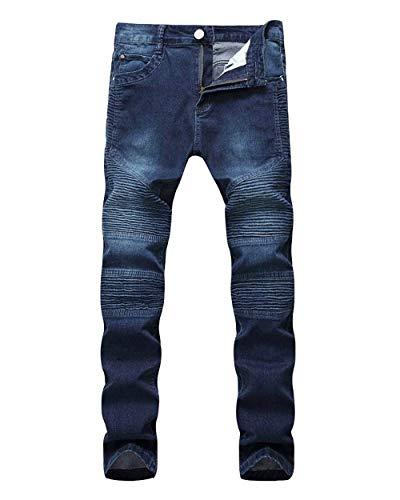 Casual Giovane Denim Fit Con Da Slim Jeans Taglio Pantaloni Uomo Destrutturato Dunkelblau Strappati Motociclista 4Uxn7q