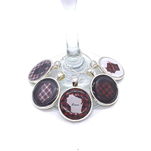Wisconsin Home State Plaid Wine Charms (Set of 5)