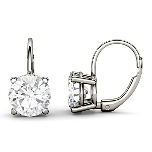 14K White Gold Moissanite by Charles & Colvard 7.5mm Round Drop Earrings, 3.00cttw DEW