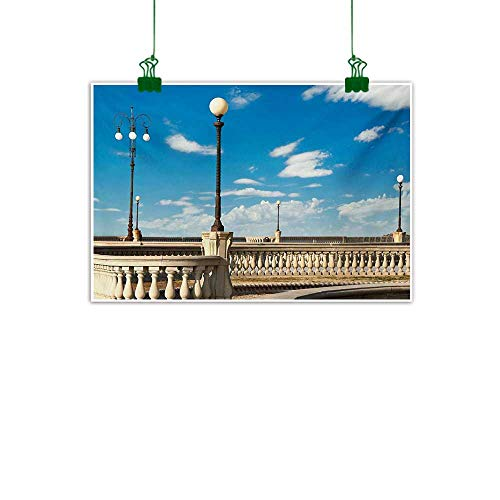 Unpremoon Italian,Canvas Art Painting Mascagni Terrace Street Promenade of Livorno Tuscany Artwork Print Wall Decor for Home Office Decorations Sky Blue White and Black W 36