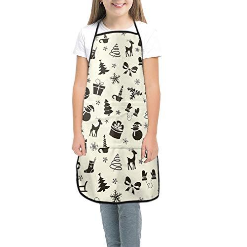 NUGGHU 크리스마스 엘크 선물 키즈 앞치마 주방 교실에서 요리를위한 포켓 커뮤니티 이벤트 공예 앞치마 소년 소녀