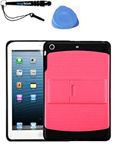 IMAGITOUCH(TM) 3-Item Combo APPLE iPad Mini Natural Pink Solid Black (With Stand) Gummy Cover (Stylus pen, Pry Tool, Phone Cover)