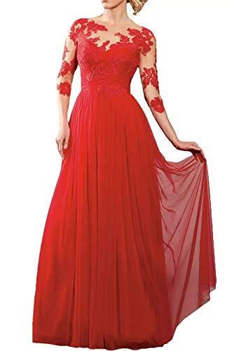 Rock Rot Abendkleider Rot Bodenlang Langarm Glamour La Marie Spitze Braut Brautmutterkleider Chiffon Partykleider Cw7tPYSq