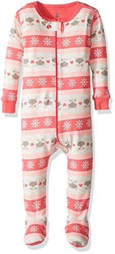 Petit Lem Baby Girls' Snowflake Printed Footed Pajamas, Fox, ()