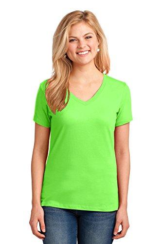 (Port & Company Ladies Core Cotton V-Neck Tee. LPC54V Neon Green L )