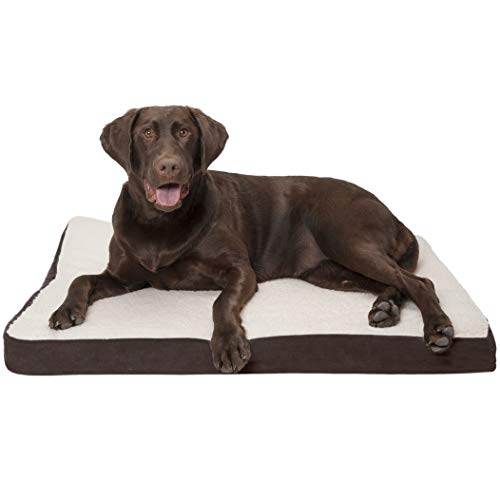 FurHaven Pet Dog Mattress | Deluxe Orthopedic Sherpa Pet Bed Mattress for Dogs & Cats, Espresso, ()
