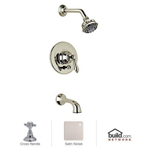 Stn Country Bath Shower - Rohl AKIT22XM-STN A1411/1Lpcstn Country Bath Pressure Balance Shower and Bath Tub