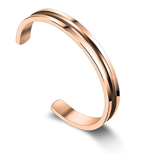 (Zuo Bao Stainless Steel Hair Tie Bracelet High Polished Cuff Bangle Bracelet for Women Girls (Rose Gold 5.5))