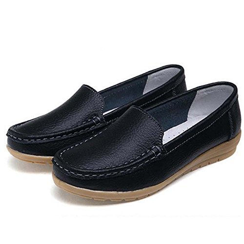 Toe Moccasins Hattie on Slip Women Round Pumps Leather Black Loafers Stpqwgq0r