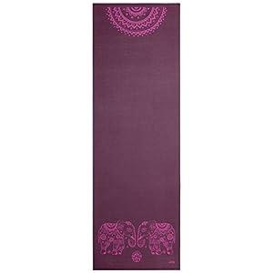 Yogamatte der LEELA COLLECTION, aubergine, bedruckt mit pinkem Design-Print...