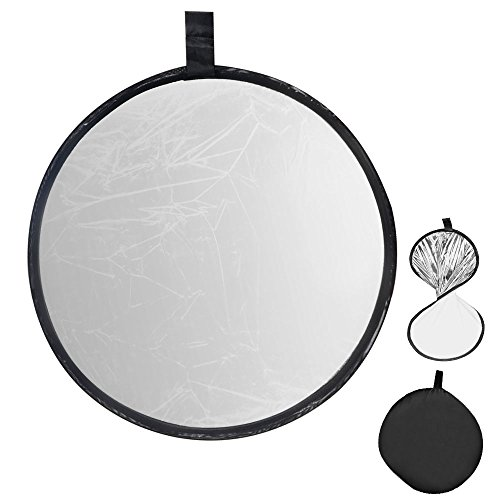 UTEBIT Portable Photography Reflector 60cm / 24inch White and Sliver 2 in 1 Collapsible Sunlight Reflectors Panel Foldable Photo Reflection for Video Film or Camera Shooting Lighting (Panel Reflector)