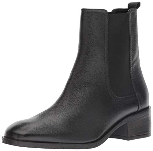 Kenneth Cole REACTION Women's Salt Chelsea Pull On Flat Bootie Ankle Boot, Black Leather, 9 M US (Best Chelsea Boots 2019)