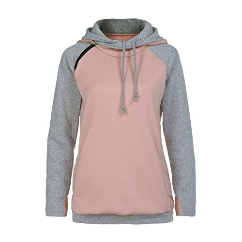 Kimloog Hot Sale! Women's Funnel Neck Raglan Sleeve Color-Block Hoodie Drawstring Sweatshirts Pocket Jumper Pullover (M, Pink) (Bamboo Raglan)