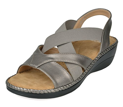 DREAM PAIRS Women's Truesoft_02 Pewter Low Platform Wedges Slingback Sandals Size 8.5 B(M) US ()