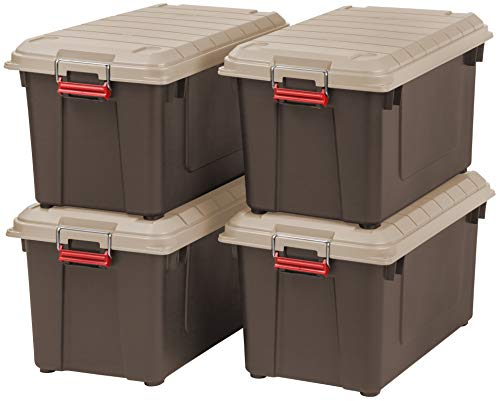 IRIS 82 Quart Weathertight Store-It-All Tote, 4-Pack, Brown ()