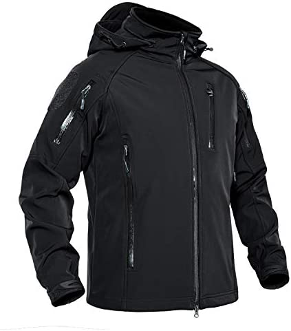 CRYSULLY Men's Outdoor Fishing Soft Shell Tactical Jacket Fleece Hooded Coat