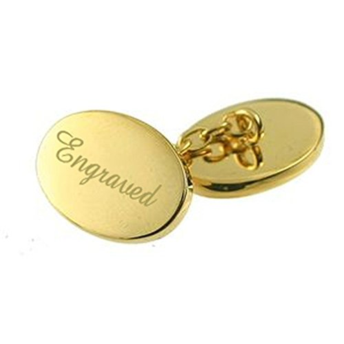 Engraved Gold-tone Chain Link Double Cufflinks