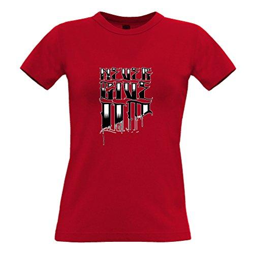 Tim and Ted Slogan design Never Give Up Loser Tatuaggio Fine stop Quit Stampato T-Shirt Da Donna