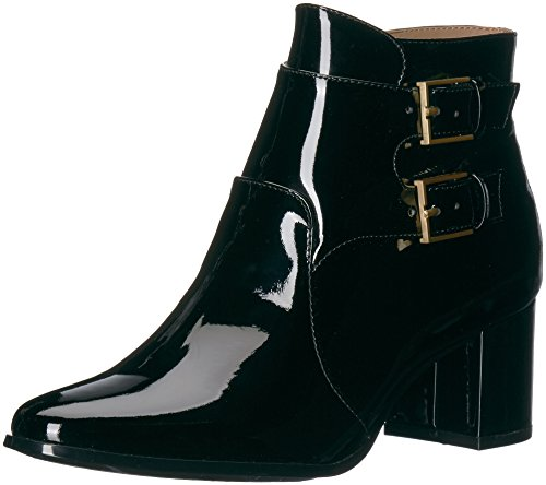 Calvin Klein Women's Florine Patent Ankle Boot, Black, 10 Medium (Buckle Black Patent Ankle Boots)