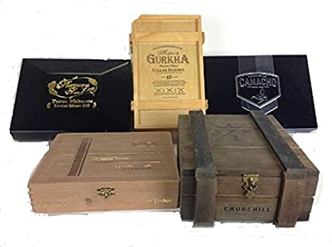Premium Wooden Empty Cigar Boxes 5 Pack