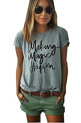 LUKYCILD Women's Summer Street Printed Tops Funny T Shirt Tee
