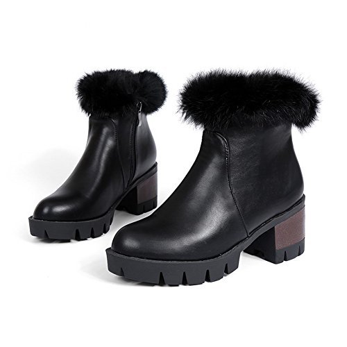 Kitten Soft Zipper Boots Low AmoonyFashion Heels Top Women's Material Solid Black x5w8ta