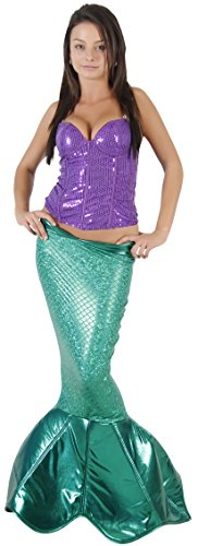 Magical Mermaid Green Sparkle Tail Deluxe Costume (L/XL) (Adult Little Mermaid Halloween Costume)