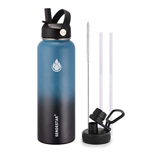 SENDESTAR Water Bottle 40oz Double Wall Vacuum Insulated Leak Proof Stainless Steel Sports Water Bottle—Wide Mouth with New Flex Straw Lid & Spout Lid (Deep Blue&Black)