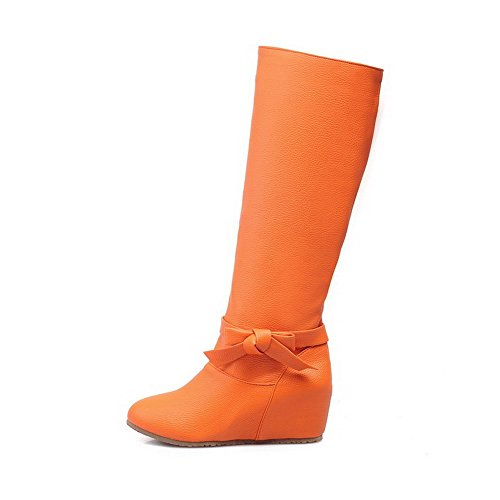 AllhqFashion Mujeres Sin Cordones Sintético Puntera Redonda Tacón Medio Sólido Botas Naranja