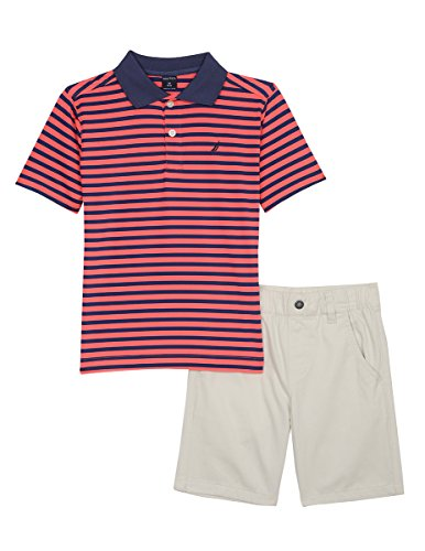 Nautica Little Boys' Two Piece Set with Polo Shirt and Pull on Short, Guava Stripe, (Guava Gift Set)