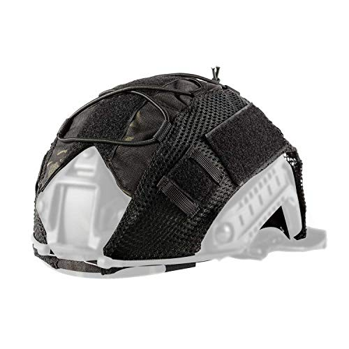 (OneTigris Multicam Helmet Cover - No Helmet (Multicam Black for Ops-Core Fast PJ Helmet in Size M/L & OneTigris PJ/MH Helmet in Size M/L))