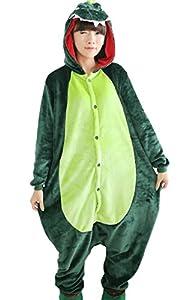 Tramii Women's Flannel Dinosaur Comfort Onesie Pajamas Loungewear Green